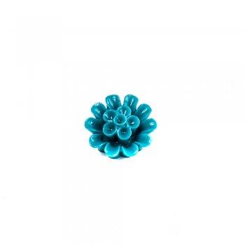 Пластиковые клеевые элементы. Цветок цвет морской волны