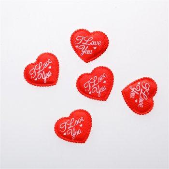 Текстильные дутые элементы сердце красного цвета