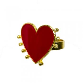 Металлическое кольцо Сердце красное