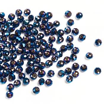 Хрустальная бусина рондель 6 мм синяя бензольная