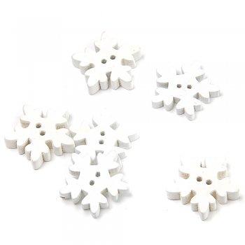 Сніжини маленькі білі. ґудзики дерев'яні