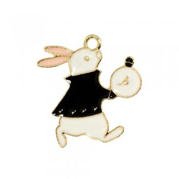 Металлическая подвеска с эмалью Кролик и часы