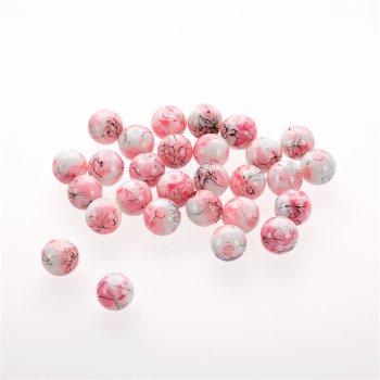 Намистина скляна багатобарвна 14 мм рожева біла чорна