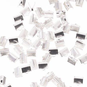 Затискачі для стрічок. Сріблястий. Довжина 6 мм, ширина 8 мм