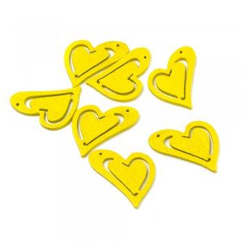 Підвіски дерев'яні. Серце жовте. Розмір 25 * 23 мм.