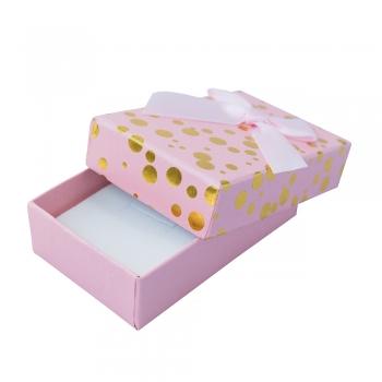 Коробочка картонная подарочная в горошек