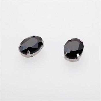 Стрази скляні в металевій оправі. Чорний. 14х10 мм