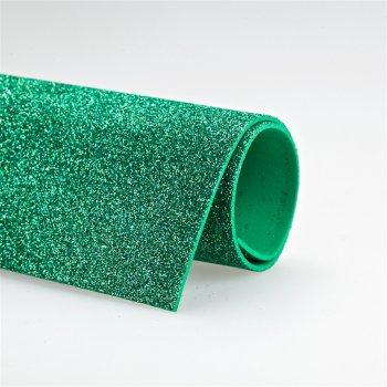 Фоамиран с блестками 20 х 30 см зелёный