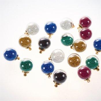 Колбы-подвески для браслетов с цветными шариками внутри
