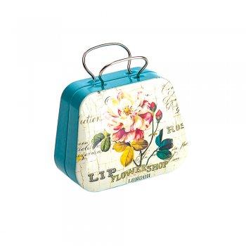 """Коробочка жестяная в виде сумочки,""""Розы""""7х5,5х3,5 см"""