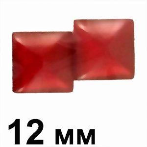 Пластикові кабошони червоний матовий опуклий квадрат 12 мм