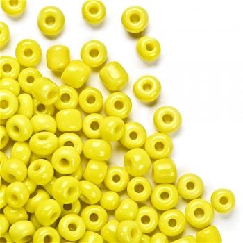 Бисер круглый, крупный, желтый. Калибр 6 (3,6 мм)
