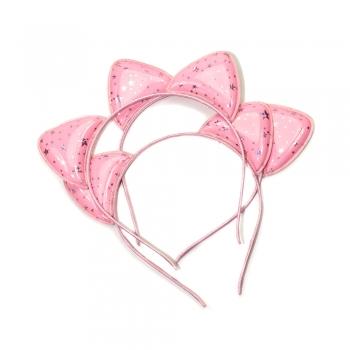 Обруч металлический декоративный со звездами розовый