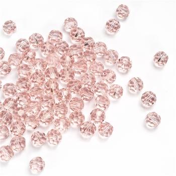 Хрустальная бусина круглая 10 мм розовая