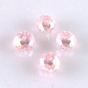 Хрустальная бусина круглая 4 мм розовая прозрачная