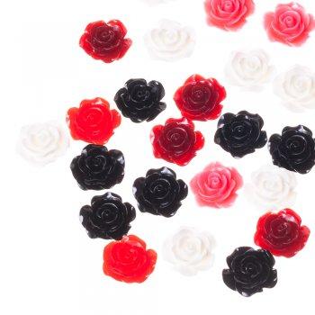 Пластиковые  клеевые элементы розовые розы