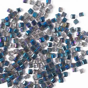 Хрустальная бусина в форме куба 2 мм синяя радужная