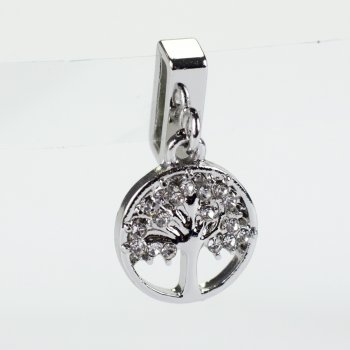 Бусина слайдер Дерево круглое мельхиоровое