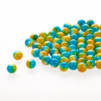 Бусина стеклянная многоцветная 8 мм оранжево голубая