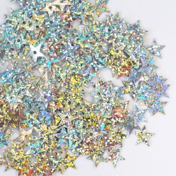 Пайетки звезда 10мм (уп0,005кг) радужные