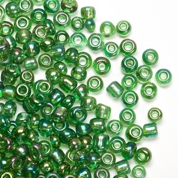 Бісер круглий, дрібний, зелений райдужний. Калібр 12 (1,8 мм)