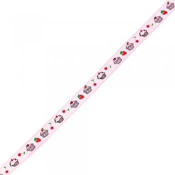 Стрічка репсова 10 мм рожева з тістечками