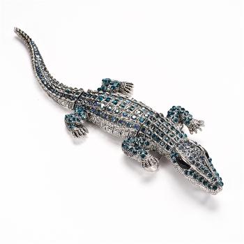 Брошь Крокодил цвета морской волны