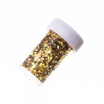 Блискітки для декорування, в кор. Золотий. Довжина 50 мм, ширина: 31 мм