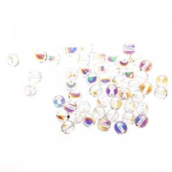 Чешские стеклянные бусины прозрачные радужные круглые 8 мм