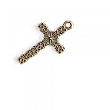 Крест ажурный, металлическая литая подвеска, бронза, 20х15 мм
