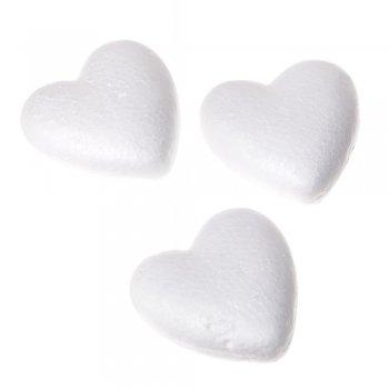 Пенопластовая заготовка, сердце. Белый. 80 мм.