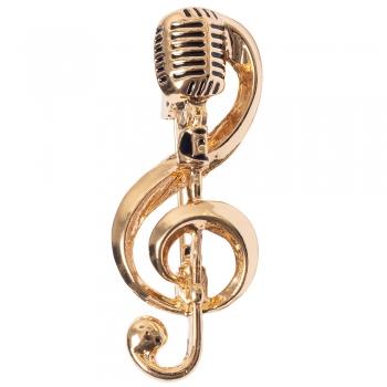 Брошка Скрипковий ключ Мікрофон золотиста