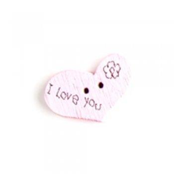 Пуговица деревянная Сердце розовая 14х 21 мм