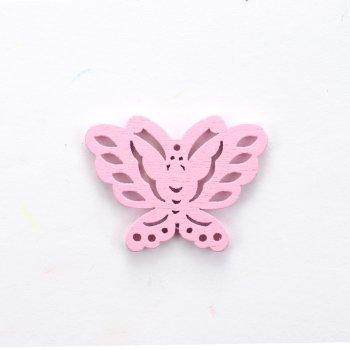 Деревянная подвеска Бабочка Розовая