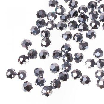 Хрустальная бусина круглая 10 мм серебристая металлик