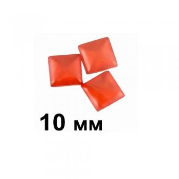 Пластиковые кабошоны красный выпуклый квадрат 10 мм