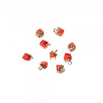 Стеклянная подвеска в форме кристалла, красная, 8 мм