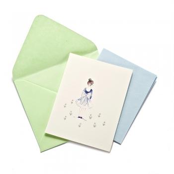 Листівка з конвертом Дівчинка з бантом