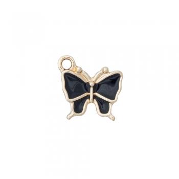 Металлическая подвеска с эмалью Бабочка черная