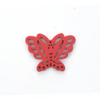 Деревянная подвеска Бабочка Красная