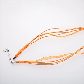 Основа для кулона Чотири бавовняні шнури і стрічка з органзи, помаранчева