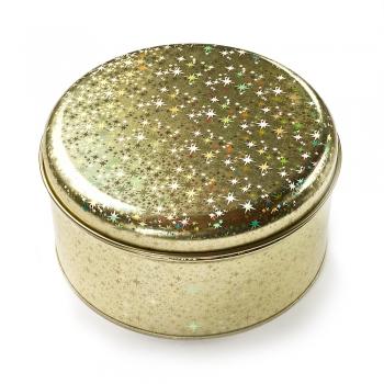 Коробочка жестяная 13.6х7.4 см голограммная золотая