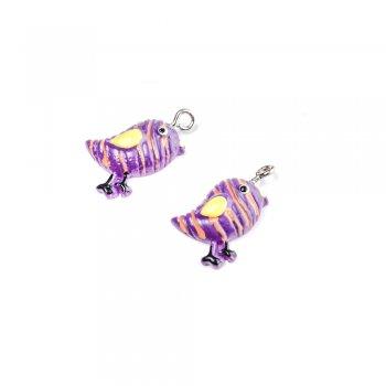 Птица фиолетовая. Подвески из полимерной глины зверюшки