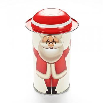 Коробочка жестяная 11,6х5,4 см Дед Мороз в круглых очках