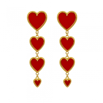 Сережки в формі серця довгі