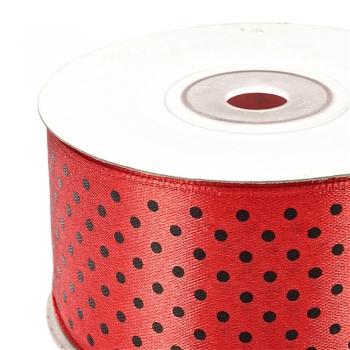 Лента атласная 38 мм в горошек красная