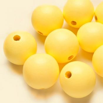 Дерев'яна намистина 30 мм жовта
