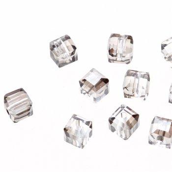 Кришталева намистина в формі куба 6 мм сіра прозора