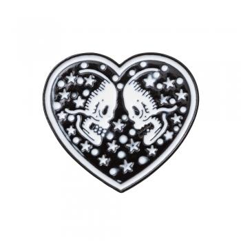Значок пін Серце з черепом