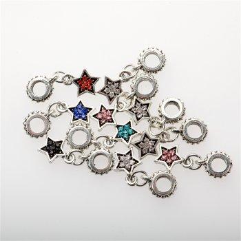 Подвеска-шарм звезда микс цветов металл 24 мм